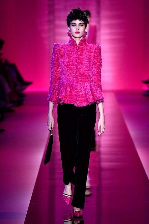 Fashion show, Shoulder, Magenta, Outerwear, Runway, Purple, Pink, Style, Fashion model, Violet,