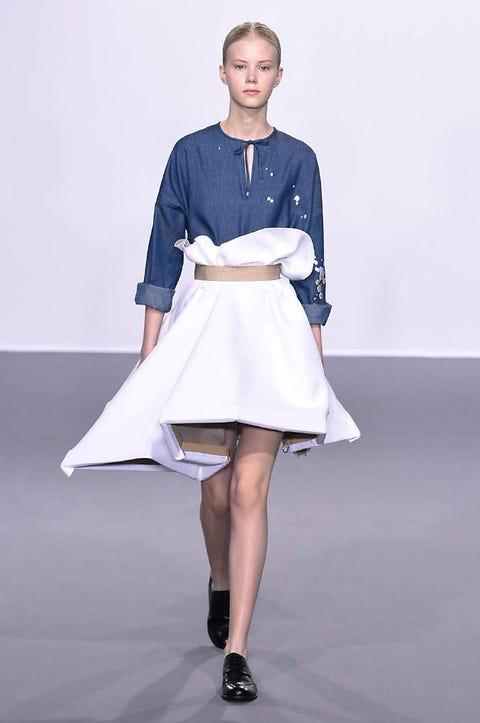 Clothing, Sleeve, Shoulder, Human leg, Textile, Joint, Fashion show, Style, Sandal, High heels,