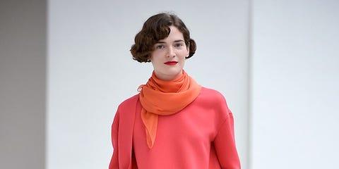 Sleeve, Red, Style, Carmine, Fashion, Fashion model, Fashion show, Street fashion, Costume design, Lipstick,