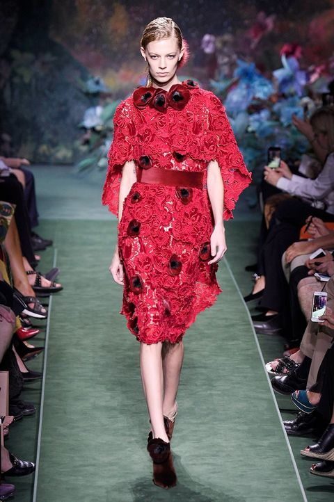 Footwear, Fashion show, Event, Shoulder, Runway, Outerwear, Red, Fashion model, Dress, Style,
