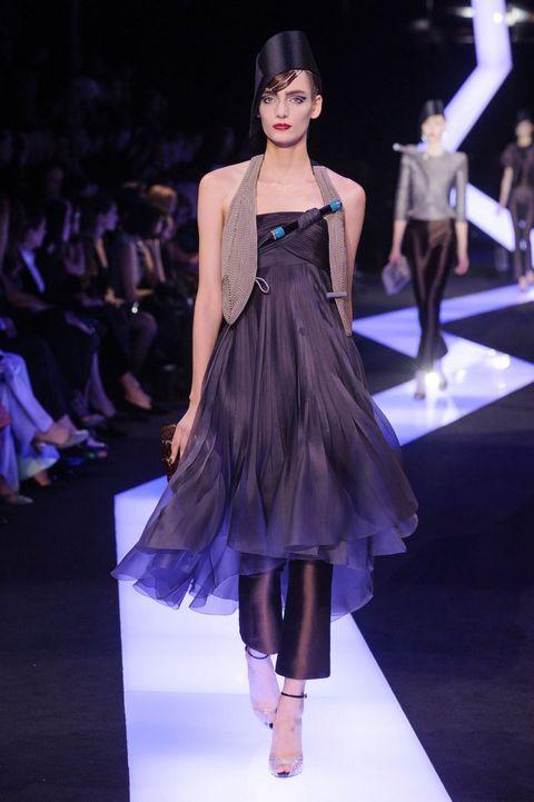 Clothing, Fashion show, Shoulder, Runway, Dress, Fashion model, Style, Waist, Fashion, Model,
