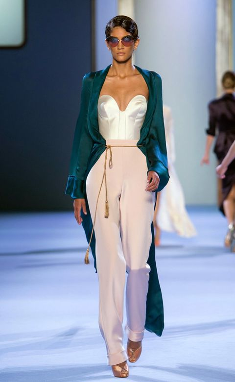 Clothing, Fashion show, Shoulder, Runway, Joint, Outerwear, Fashion model, Style, Waist, Model,