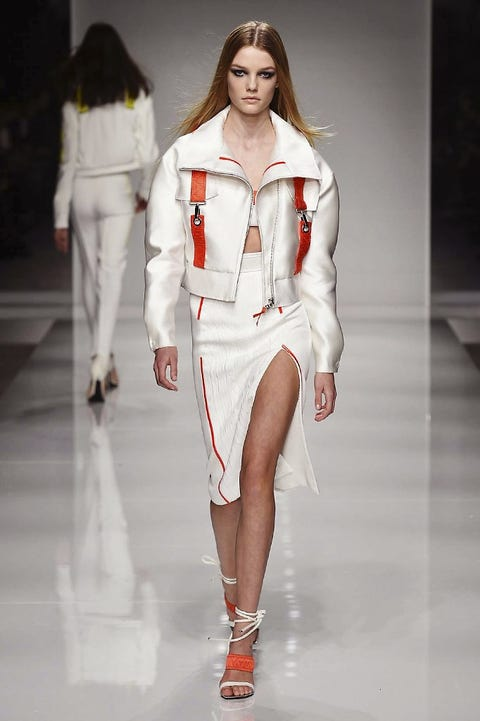 Clothing, Human, Fashion show, Hairstyle, Sleeve, Shoulder, Runway, Human leg, Joint, Outerwear,