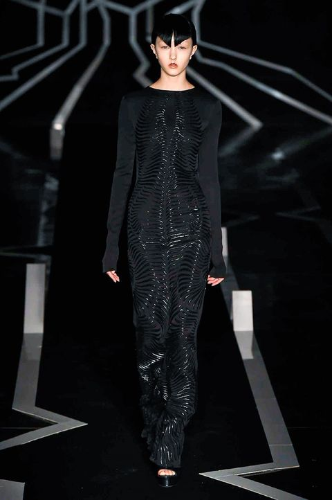 Standing, Style, Fashion, Black hair, Fashion model, Fashion design, Animation, Fashion show, Costume design, Haute couture,