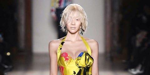 Yellow, Dress, Textile, One-piece garment, Formal wear, Style, Fashion model, Gown, Day dress, Street fashion,