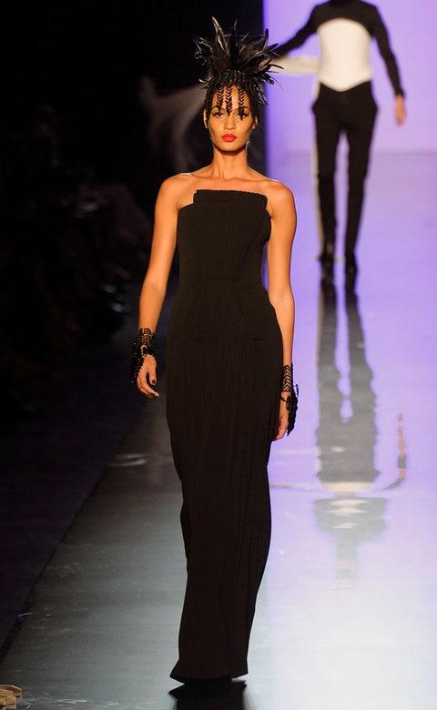 Human, Fashion show, Shoulder, Dress, Joint, Fashion model, Waist, Style, Runway, One-piece garment,