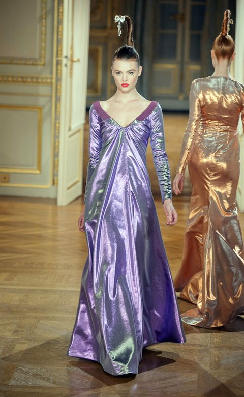 Clothing, Textile, Dress, Formal wear, Purple, Style, Gown, Fashion, One-piece garment, Beauty,