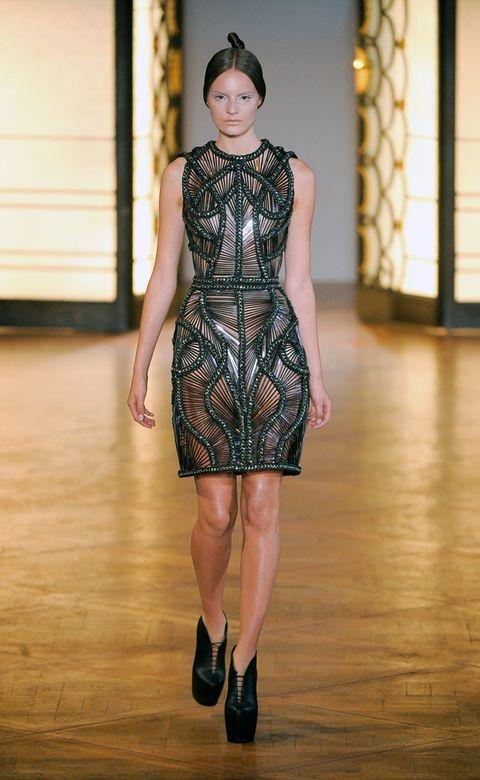 Clothing, Dress, Fashion show, Shoulder, Human leg, Joint, One-piece garment, Runway, Style, Waist,