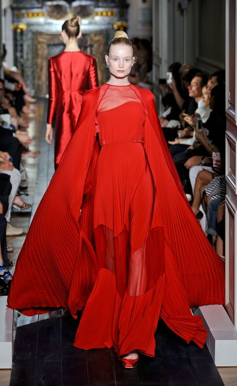 Dress, Shoe, Fashion show, Red, Style, Fashion model, Runway, Gown, Costume design, Fashion,