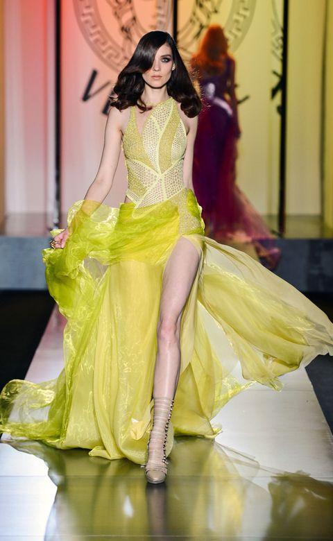 Human, Yellow, Fashion show, Fashion model, Formal wear, Model, Fashion, Youth, Gown, Runway,