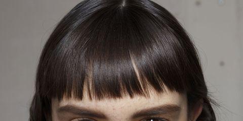 Mouth, Lip, Hairstyle, Skin, Chin, Forehead, Eyebrow, Bangs, Eyelash, Black hair,