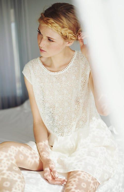 Dress, Curtain, Embellishment, Hair accessory, Lace, Blond, Brown hair, Long hair, Wedding dress, Hair coloring,