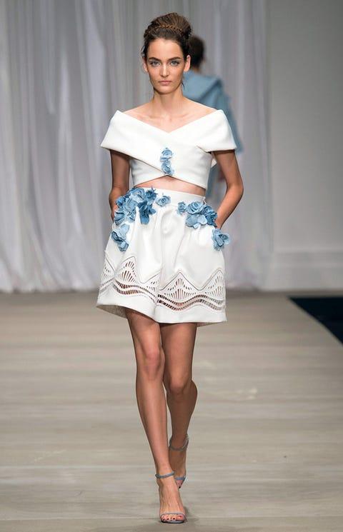 Fashion show, Fashion model, Fashion, Clothing, Runway, Shoulder, White, Blue, Dress, Fashion design,