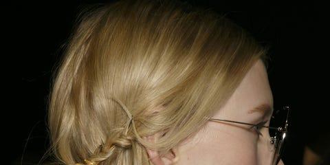 Ear, Glasses, Hairstyle, Earrings, Style, Long hair, Beauty, Eyelash, Blond, Fashion,