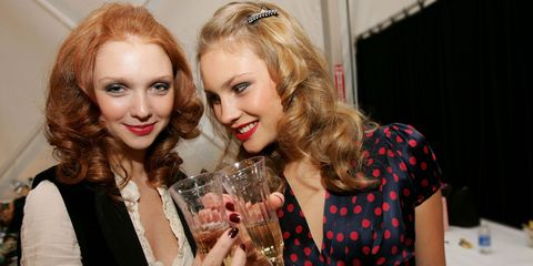 Hair, Blond, Fashion, Beauty, Liqueur, Fun, Drink, Event, Party, Distilled beverage,
