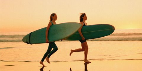 Human, Surfing Equipment, Surfboard, Fun, Standing, People in nature, Surface water sports, Vacation, Boardsport, Beach,