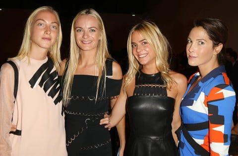 Smile, Dress, Fashion, Jewellery, Blond, Friendship, Little black dress, Necklace, Leather, Body jewelry,