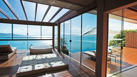 Property, Interior design, Real estate, Resort, Glass, Floor, Daylighting, Fixture, Swimming pool, Outdoor furniture,