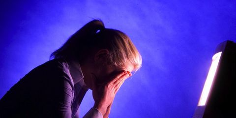 Purple, Violet, Electric blue, Backlighting, Office equipment, Thinking, Sweater,