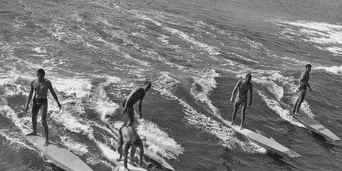 Surfing Equipment, Surfboard, Water, Surface water sports, Standing, Wave, People in nature, Boardsport, Wind wave, Water sport,