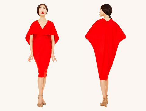 Sleeve, Shoulder, Standing, Red, Joint, Pattern, Style, Formal wear, Waist, One-piece garment,