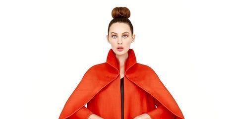 Sleeve, Shoulder, Textile, Standing, Collar, Coat, Style, Fashion, Orange, Costume design,