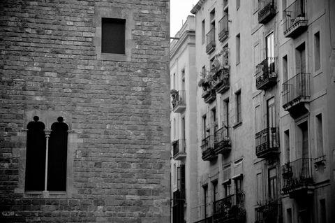 Neighbourhood, Facade, Infrastructure, Wall, Architecture, Town, White, Monochrome, Brick, Building,