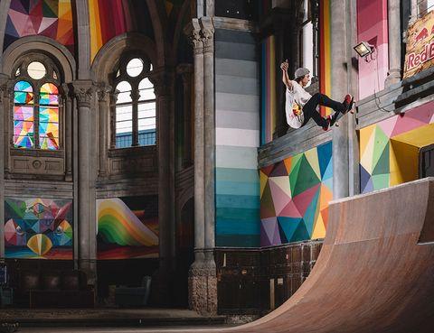 Skateboarding, Stained glass, Boardsport, Skateboarding Equipment, Skatepark, Skateboarder, Street sports, Concrete, Visual arts, Skateboard deck,