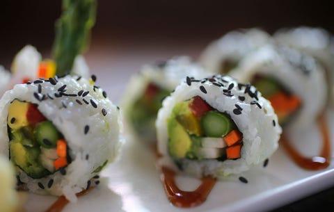 Cuisine, Food, Sushi, Rice, Ingredient, Dish, White rice, Gimbap, Recipe, Dishware,