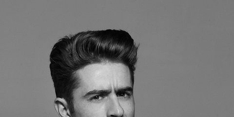 Ear, Hairstyle, Style, Quiff, Pompadour, Mohawk hairstyle, Eyelash, Monochrome, Personal grooming, Black-and-white,