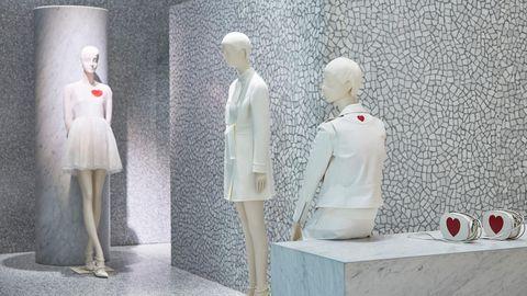 Mannequin, Display window, Sculpture, Toy, Display case, Art, Dress, Figurine, Doll, Fashion design,