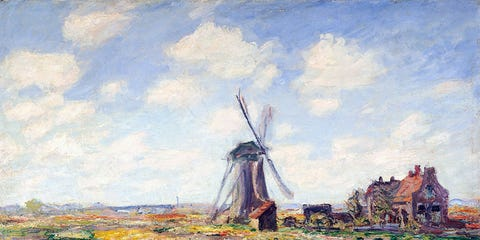 Windmill, Art, Artwork, Paint, Watercolor paint, Rural area, Mill, Painting, Art paint, Visual arts,