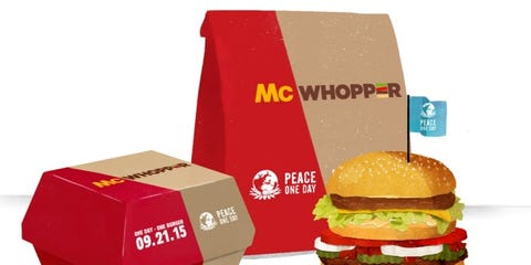 Finger food, Food, Red, Sandwich, Bun, Box, Logo, Baked goods, Carton, Carmine,