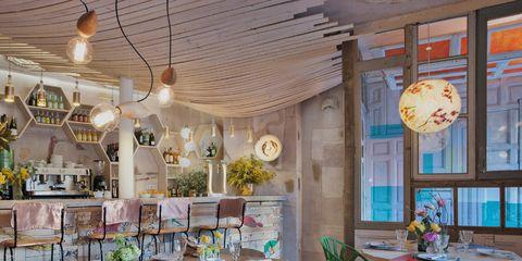 Lighting, Interior design, Furniture, Room, Table, Ceiling, Light fixture, Chair, Interior design, Restaurant,