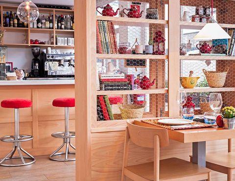 Interior design, Furniture, Shelving, Room, Shelf, Interior design, Collection, Peach, Light fixture, Plywood,