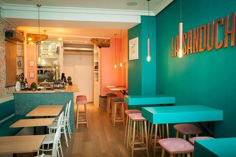 Lighting, Green, Room, Interior design, Ceiling, Furniture, Table, Turquoise, Teal, Orange,