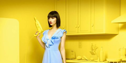 Blue, Yellow, Shoulder, Dress, One-piece garment, Style, Cabinetry, Drawer, Electric blue, Cobalt blue,