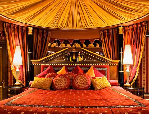 Decoration, Room, Furniture, Bed, Interior design, Curtain, Bedroom, Building, Suite, Yurt,