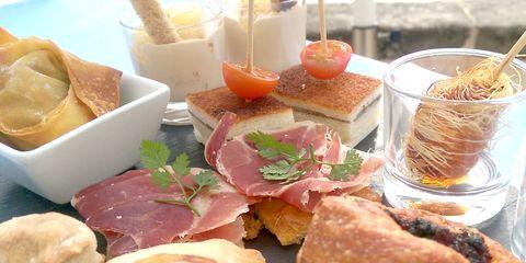 Food, Cuisine, Ingredient, Meal, Dish, Tableware, Peach, Breakfast, Prosciutto, Brunch,