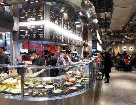 Customer, Food, Cuisine, Trade, Fast food, Meal, Service, Dish, Buffet, Food court,