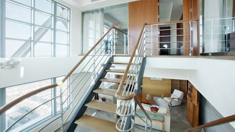 Stairs, Wood, Property, Interior design, Room, Floor, Real estate, Glass, Handrail, Fixture,