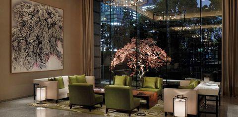 Room, Interior design, Branch, Green, Floor, Wall, Furniture, Interior design, Living room, Couch,