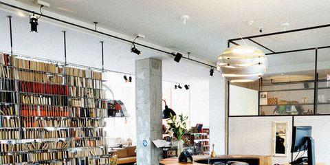 Lighting, Floor, Interior design, Ceiling, Flooring, Shelf, Shelving, Interior design, Light fixture, Houseplant,