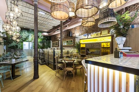 Lighting, Wood, Interior design, Furniture, Table, Hardwood, Light fixture, Restaurant, Wood flooring, Interior design,