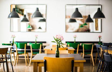 Green, Yellow, Room, Furniture, Table, Chair, Interior design, Interior design, Restaurant, Lampshade,