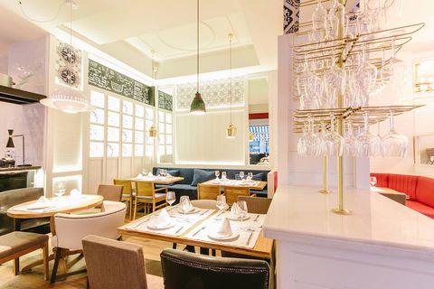 Interior design, Room, Table, Furniture, Interior design, Ceiling, Light fixture, Ceiling fixture, Chandelier, Countertop,