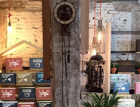Wall, Wood, Clock, Window, Interior design, Building, Room, Architecture, Door, Brick,
