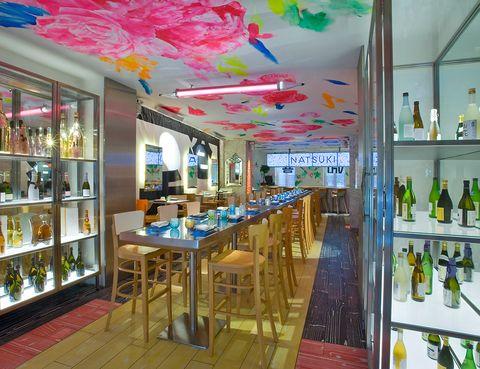 Interior design, Bottle, Ceiling, Drink, Shelving, Glass, Glass bottle, Shelf, Alcohol, Distilled beverage,