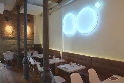 Lighting, Interior design, Room, Wall, Furniture, Ceiling, Light fixture, Interior design, Space, Restaurant,
