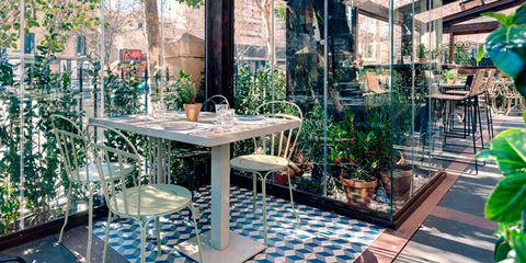 Table, Interior design, Tile, Flowerpot, Houseplant, Outdoor table, Tile flooring, Courtyard, Outdoor furniture, Outdoor structure,